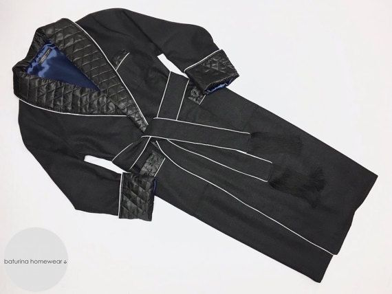 Mens Wool Dressing Gown Long Warm Quilted Silk Shawl Collar ...