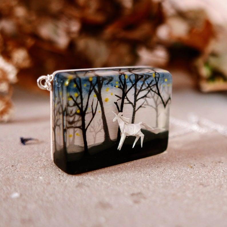 Photo of Japanese jewelry Unicorn necklace Unicorn pendant Whimsical Woodland Miniature painting Miniature Origami Origami unicorn Origami pony