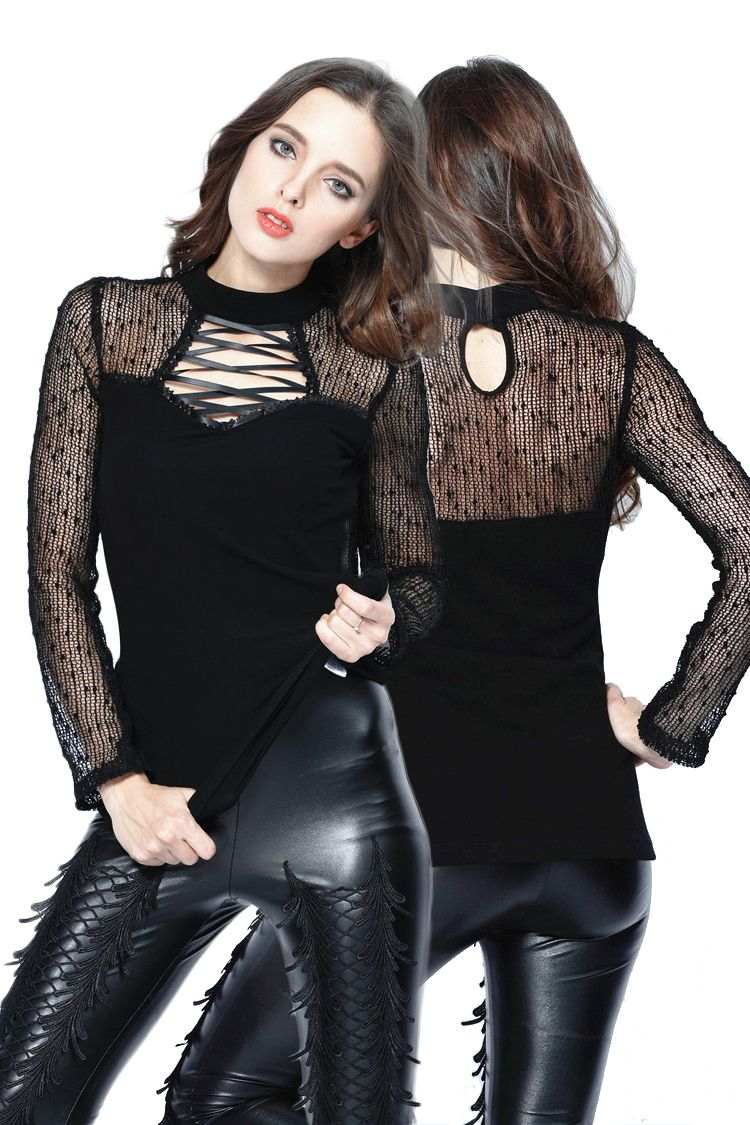 Dark in love punk small lace grid sexy sleeve top gothic clothing