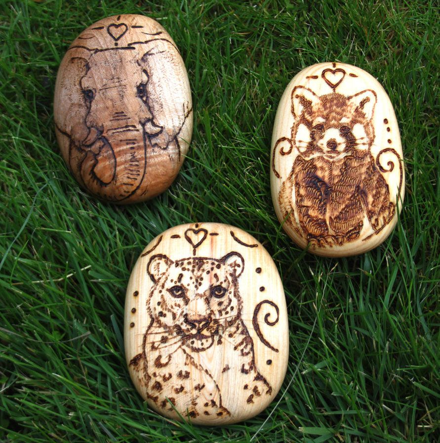 Snow Leopard, Elephant and Red Panda Pebbles by BumbleBeeFairy on DeviantArt