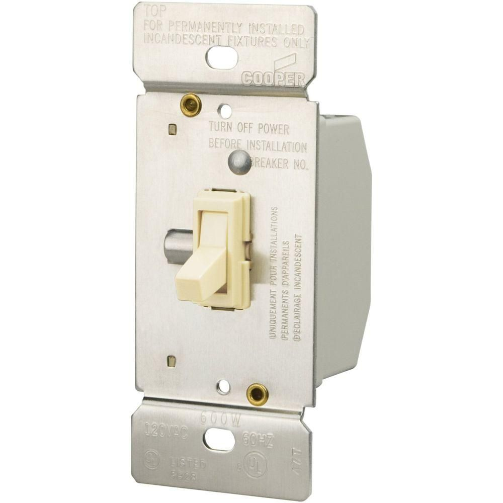 600Watt 3Way Incandescent Toggle Dimmer Light Almond Products