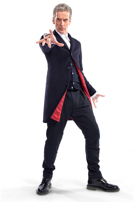 "12th Doctor's outfit -Peter Capaldi  Reminiscent of the 3rd Doctor's color scheme, but with a more modern cut, Moffatt says: ""New Doctor, new era, and of course new clothes. Monsters of the universe, the vacation is over – Capaldi is suited and booted and coming to get you!"""