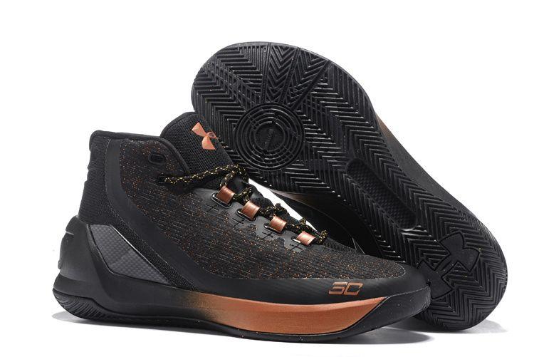 Original 2017 UA Stephen Curry 3 Black Gold Basketball Shoe For Sale