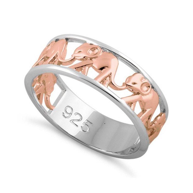 Charm Women Men 925 Silver Ring Animal Elephant Wedding Band Prom  Size 6-10