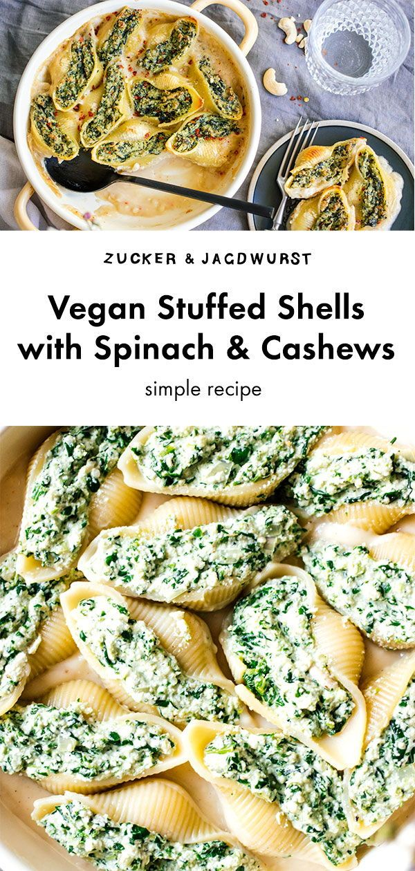Vegan Stuffed Shells With Spinach And Cashews