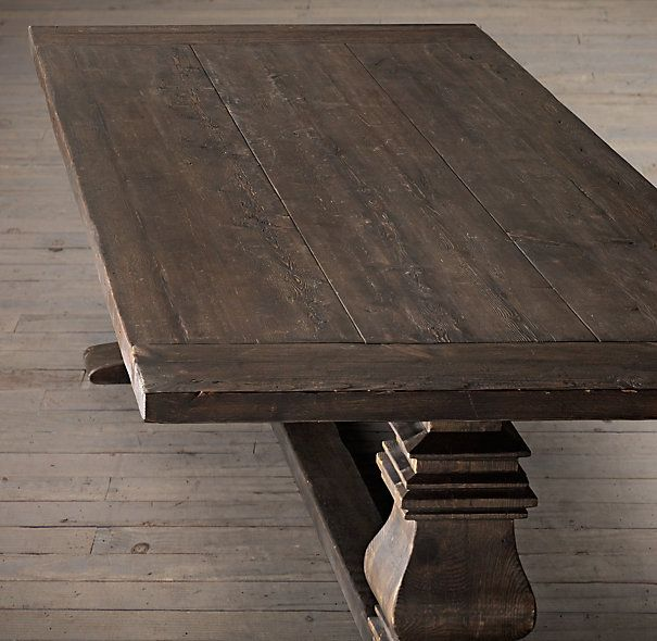 Dining Room Table Extender: Salvaged Wood Trestle Rectangular Extension Dining Table