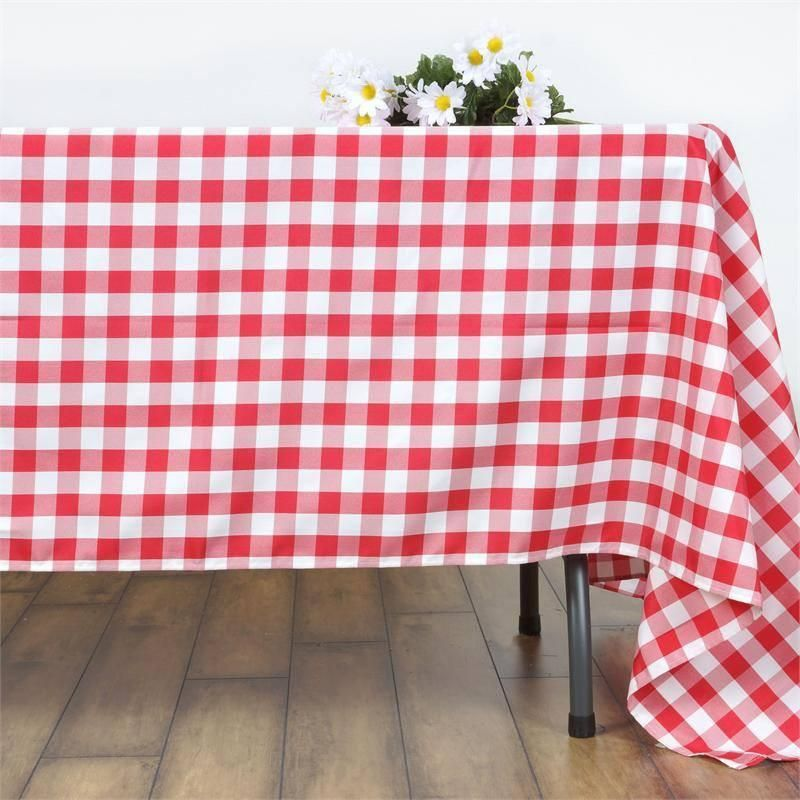 Buffalo Plaid Tablecloth 70 X70 Square White Red Checkered