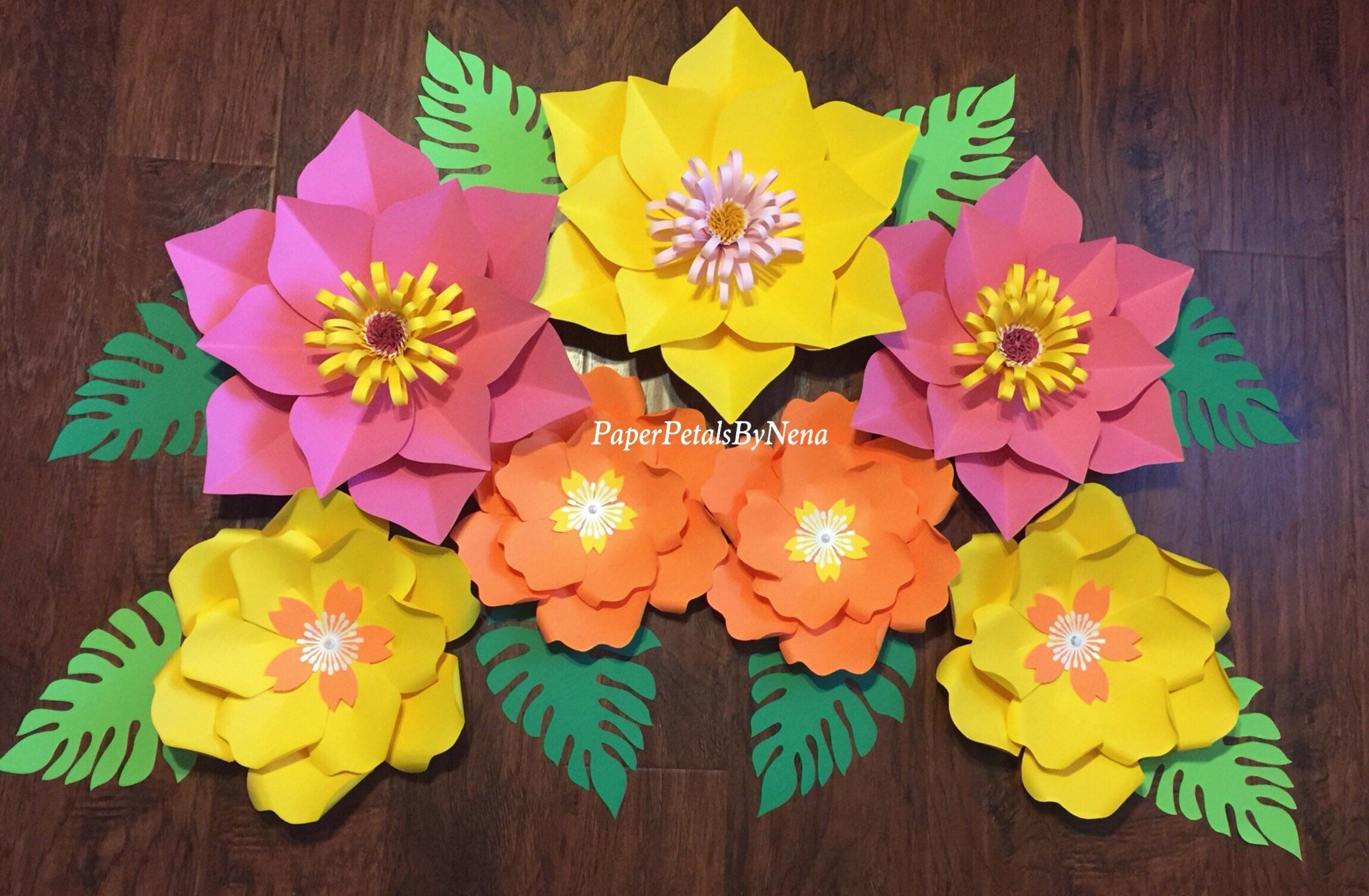 Moana paper flowers  hawaiian paper flowers  moana birthday decor