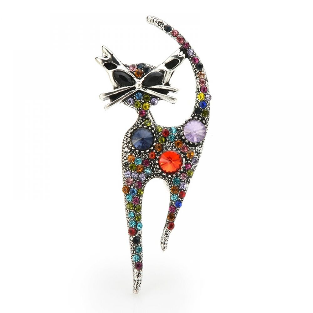 Colorful Rhinestone Cat Brooch $6.48 #lookoftheday #fashionblog