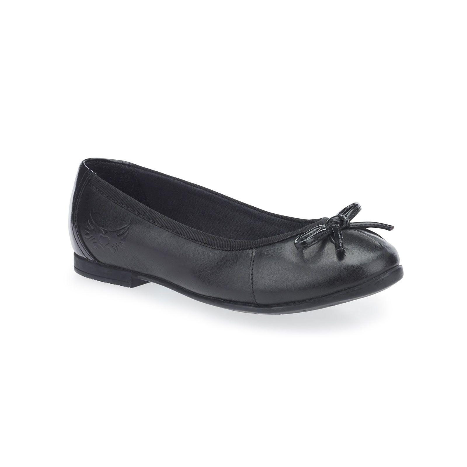 Ballerina, Black Leather Girls Slip-on