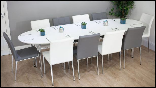 Dining Room 10 Seat Round Extendable Table Contemporary