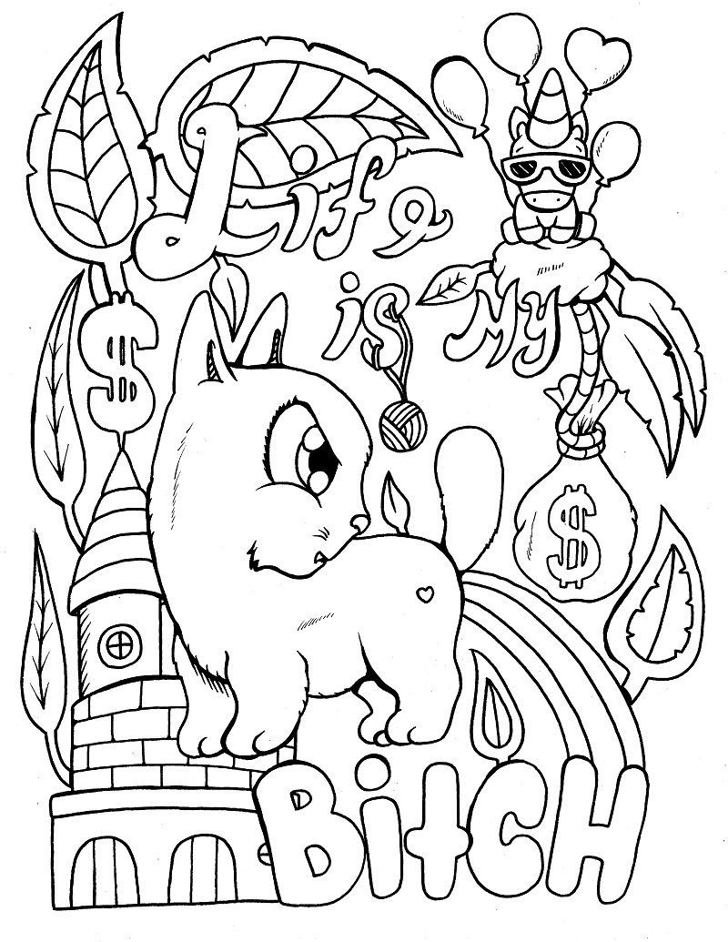 Cat swear coloring page with unicorn #cat | Mermaid ...