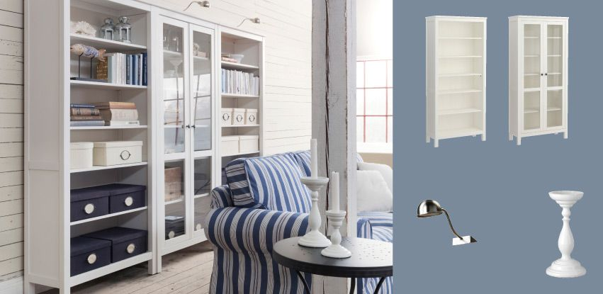 HEMNES White Stained Bookcases And Glass-door Cabinet