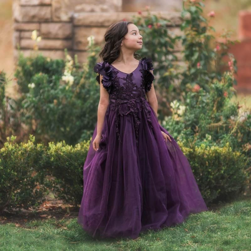 696db8da2c5 Ariana Dark Purple Petal Sleeve Satin   Lace Dress Gown - Just Couture