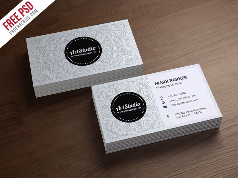 Creative White Business Card Free PSD Business Cards Card - Psd business card template
