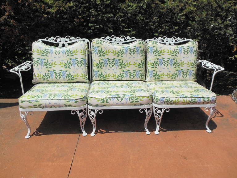 Nice Woodard Wrought Iron Sofa In The Chantilly Rose Pattern