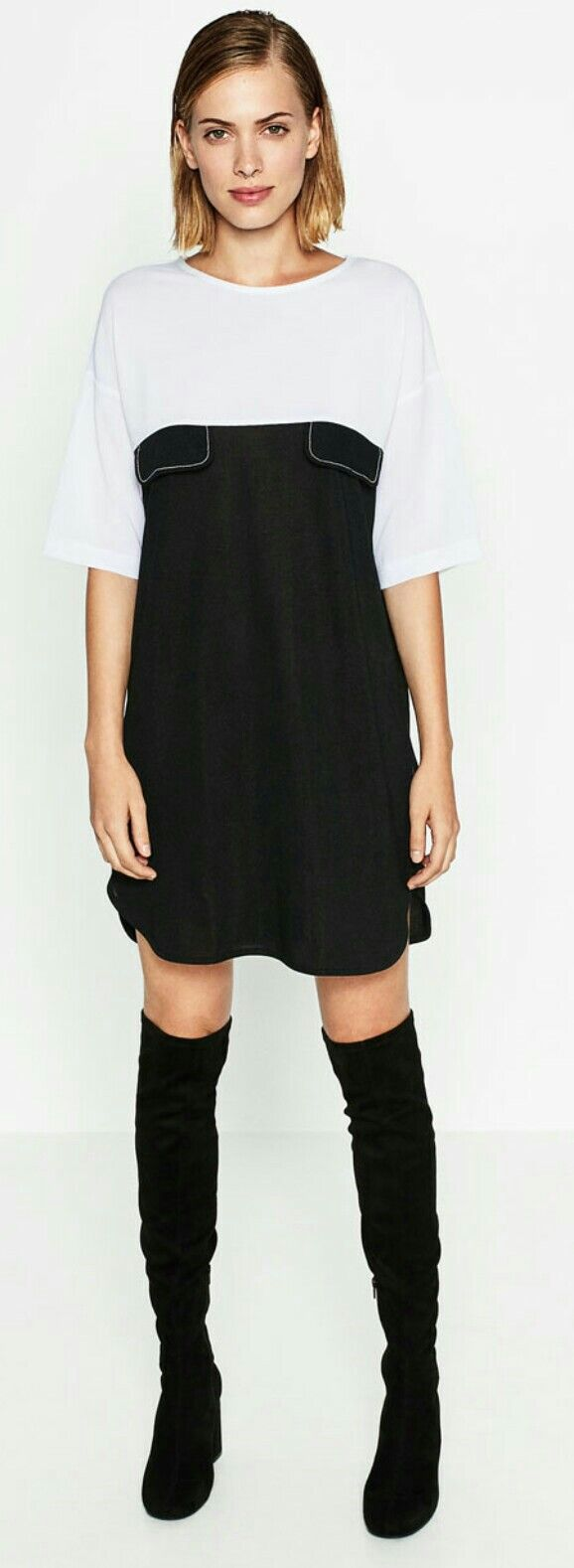 Zara black and white winter dress above-knee boots
