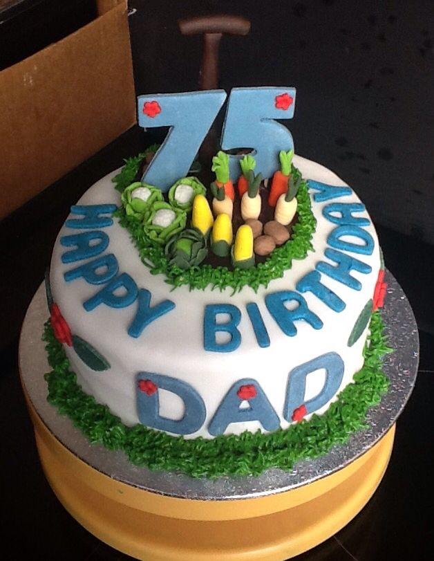 Peachy 75 Th Garden Cake 75 Birthday Cake Dad Birthday Cakes 75Th Birthday Cards Printable Benkemecafe Filternl