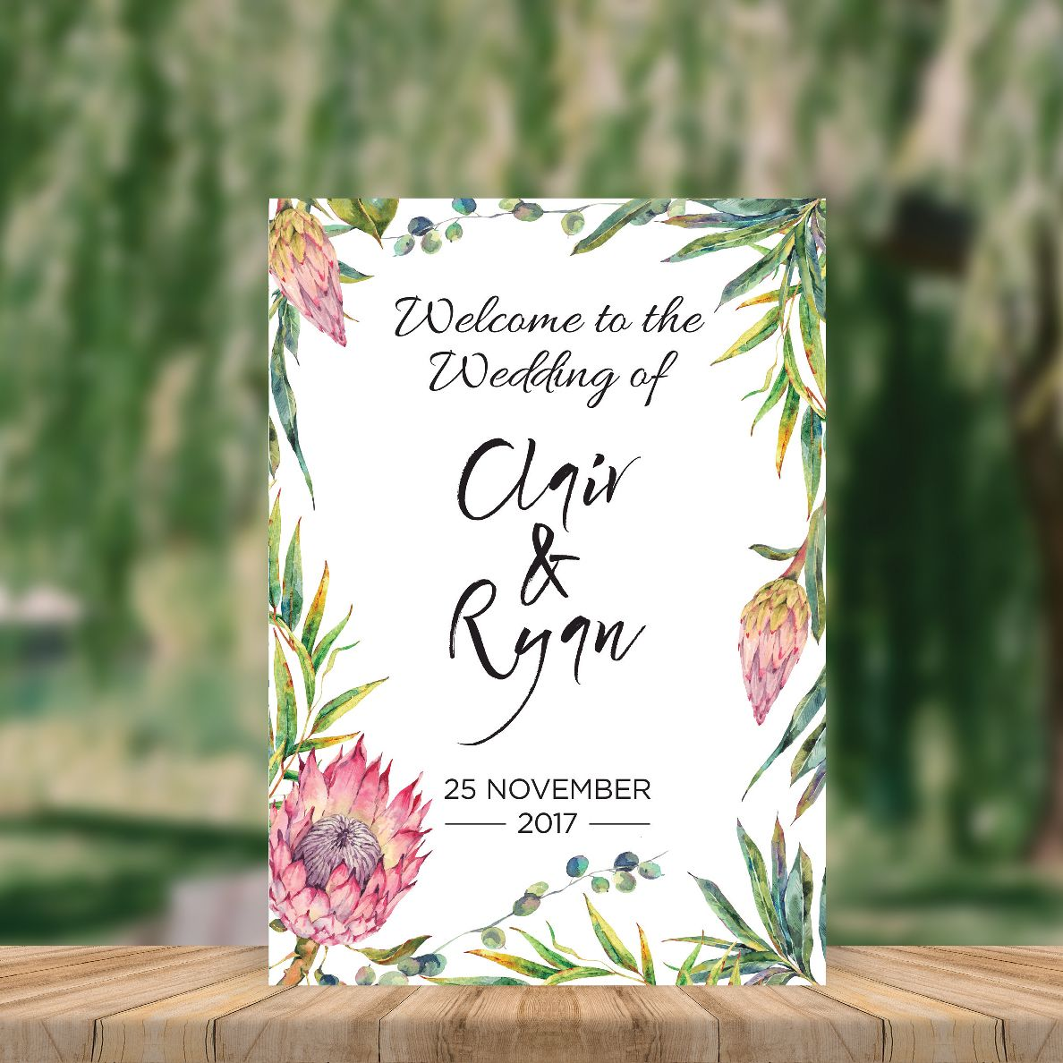 Places To Print Wedding Invitations: Printable Welcome To The Wedding Sign, Protea Gum Leaves