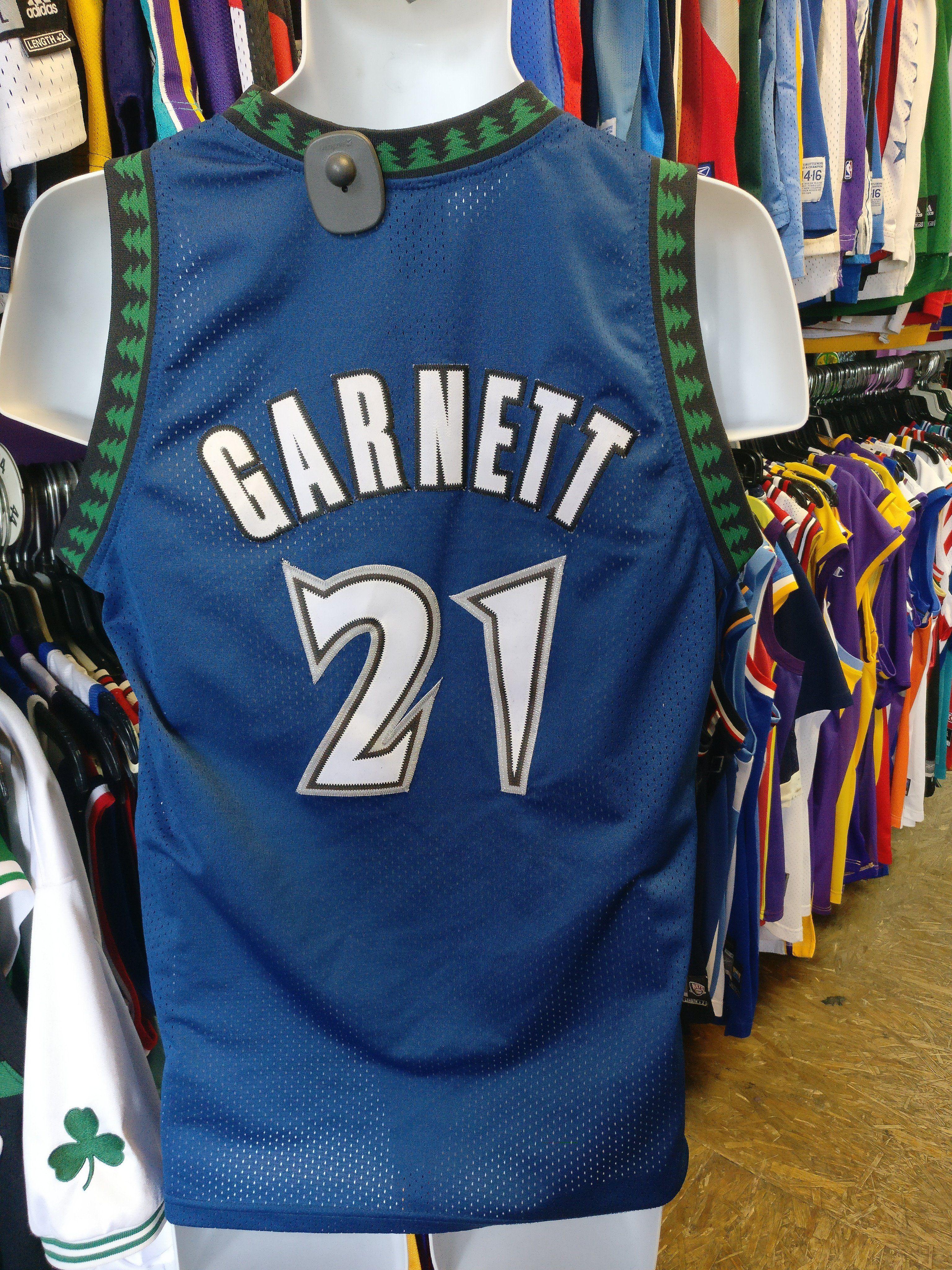 155d242ac69 Vintage  21 KEVIN GARNETT Minnesota Timberwolves NBA Nike Jersey YL ...