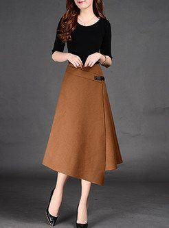 Asymmetric A-Line Split Wool Skirt