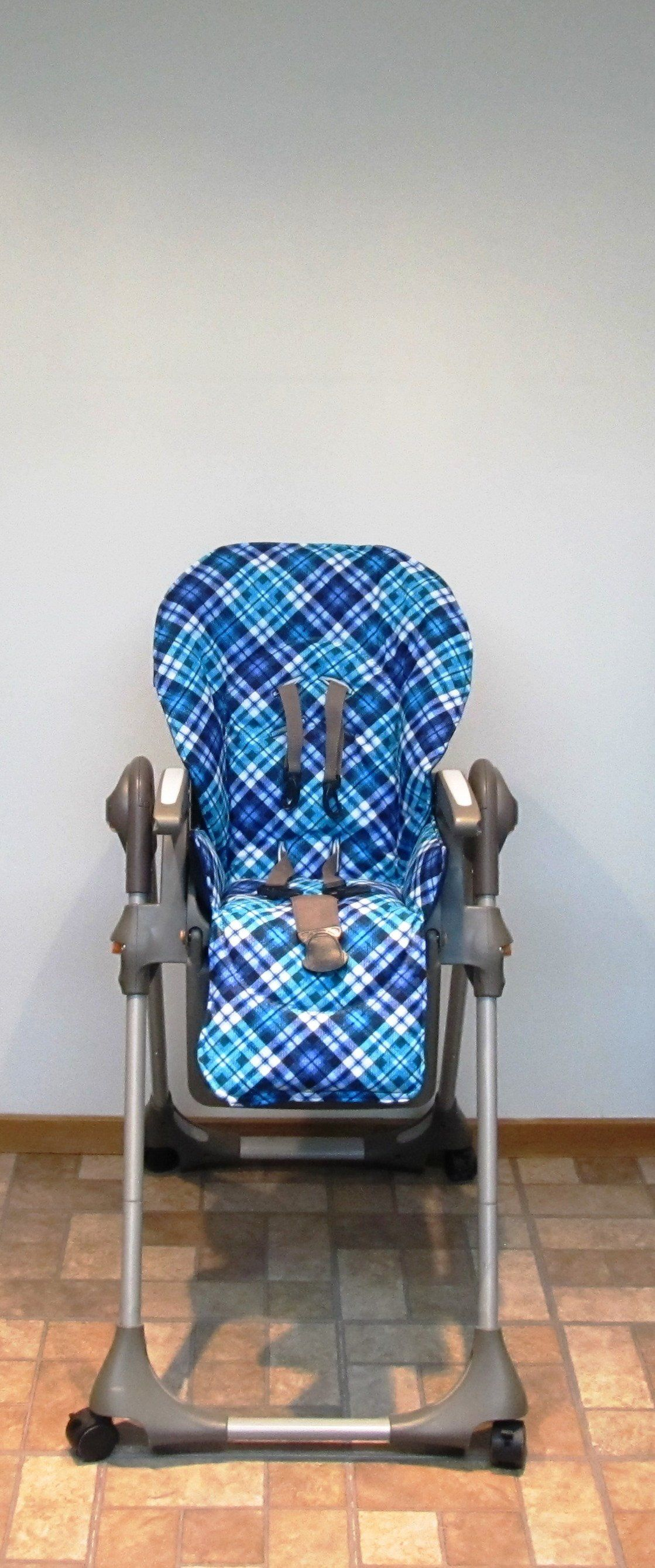 Chicco padded replacement high chair cover blue and teal