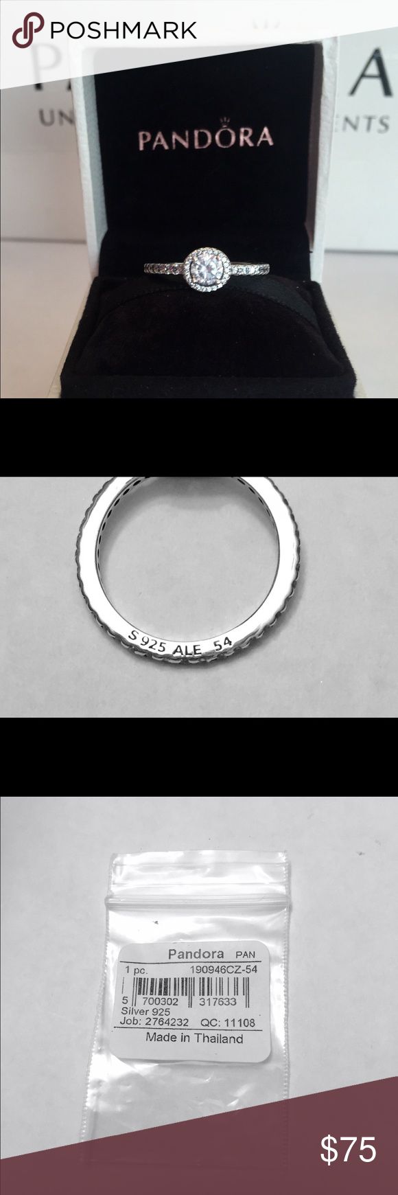 985c1cea1 ... s925 ale 8665b 90e4b; top quality authentic pandora classic elegance  ring w tags. sterling silver with czs. hallmark