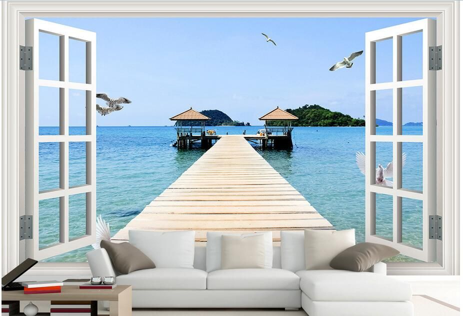 3d Wallpaper Custom Photo Non Woven Mural Wall Stickers 3 D Scenery Outside The Window
