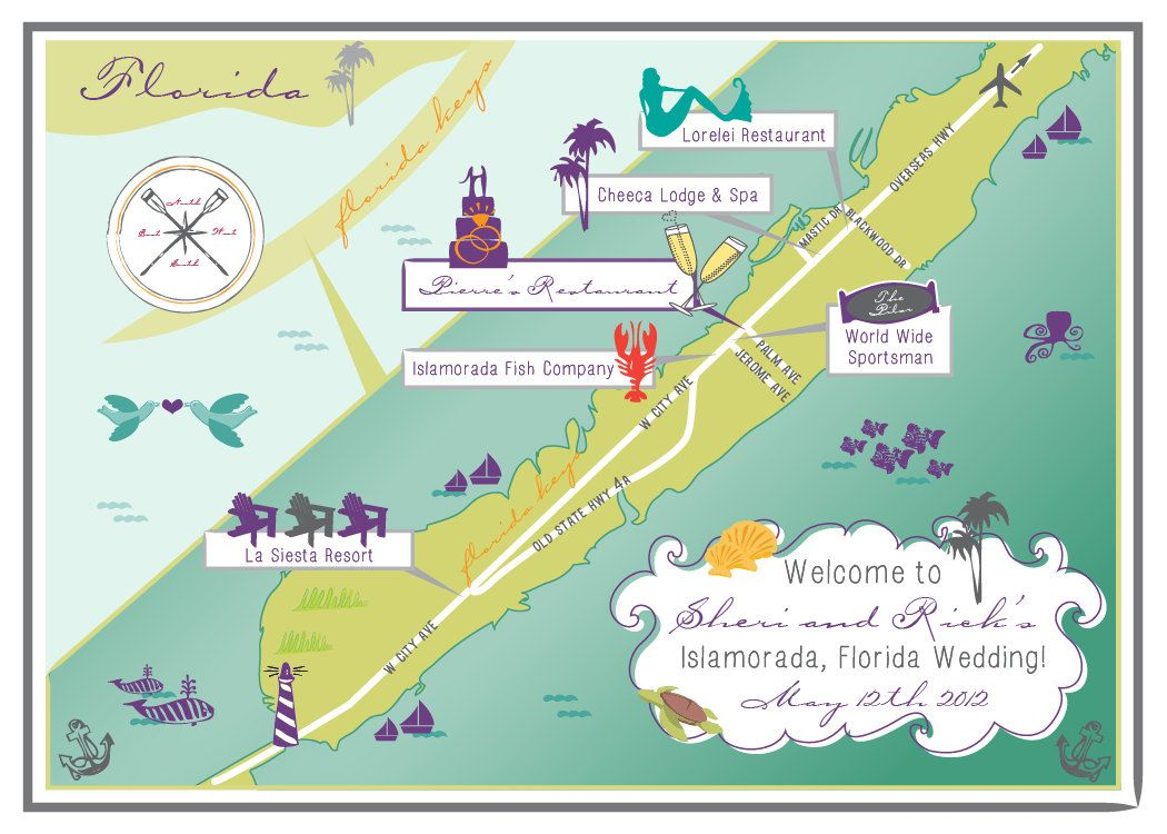 Custom Wedding Map Infographic Islamorada Florida Choose Your - Florida map location
