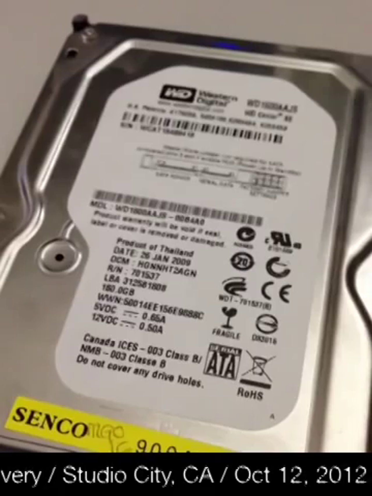 Western Digital 3 5 Sata Wd1600aajs 100 Recovered For 300 Dollar Data Recovery