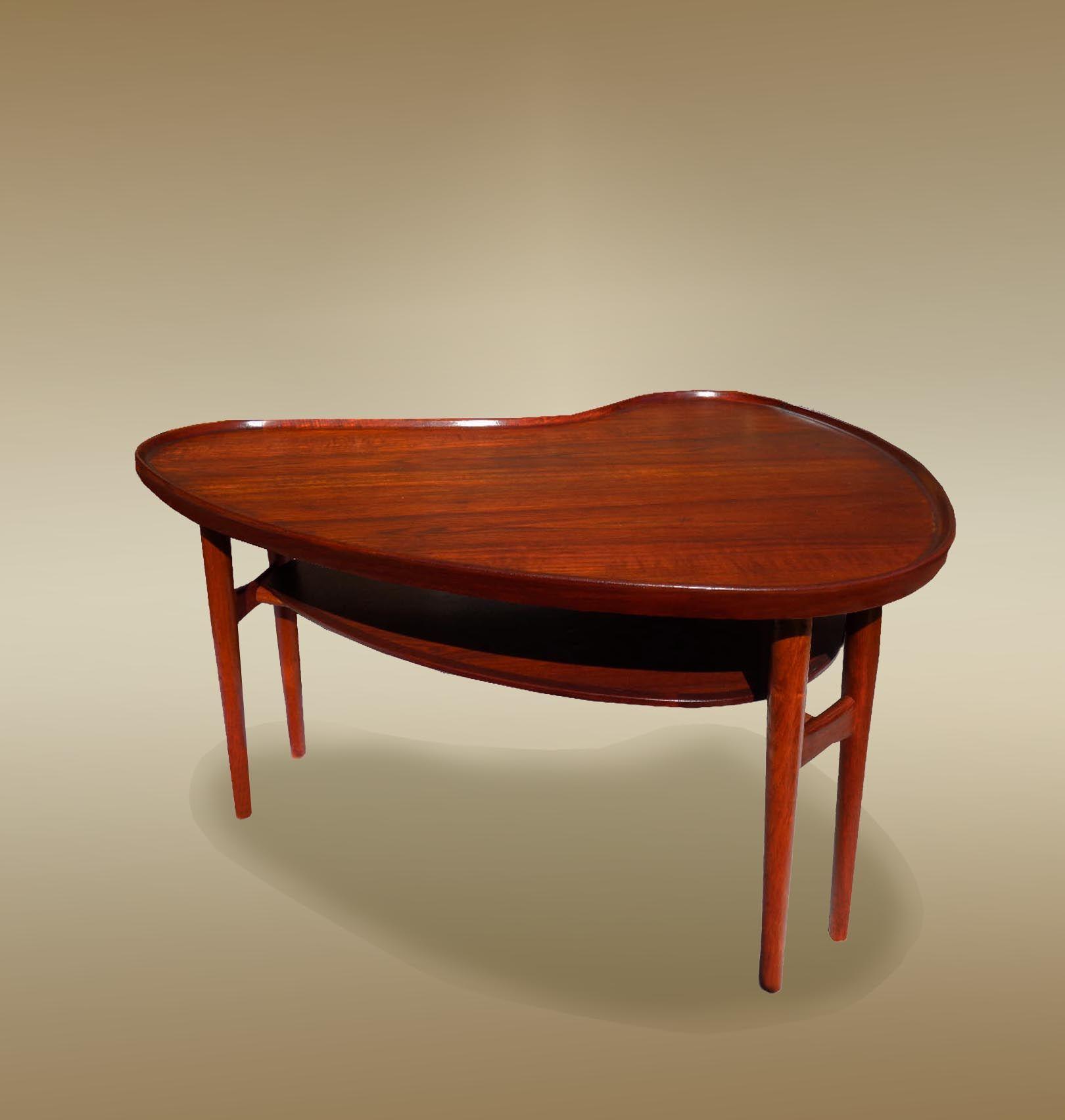 kidney shape rosewood teak coffee table sold