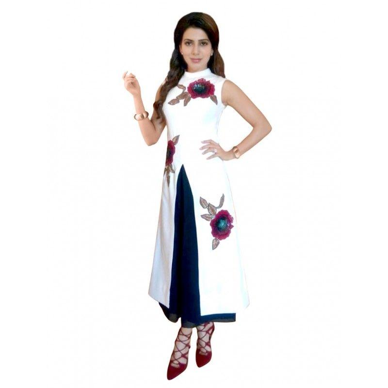 Party Wear Silk White Salwar Suit - 70066