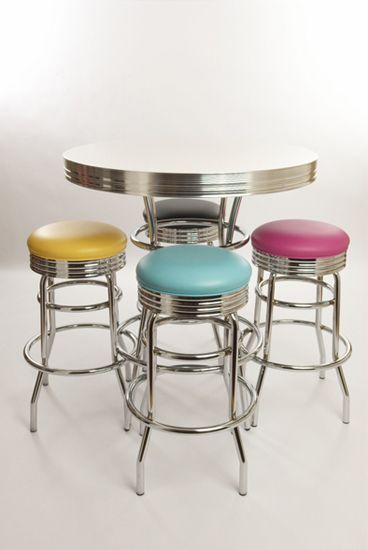 Exceptional Retro Bar Table And Stools Set