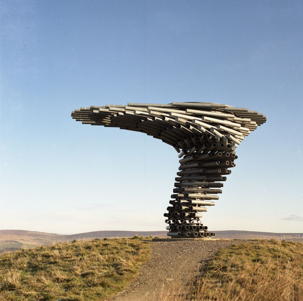 'Singing Ringing Tree' sculpture in Crown Point, Burnley - omits a haunting sound in windy weather