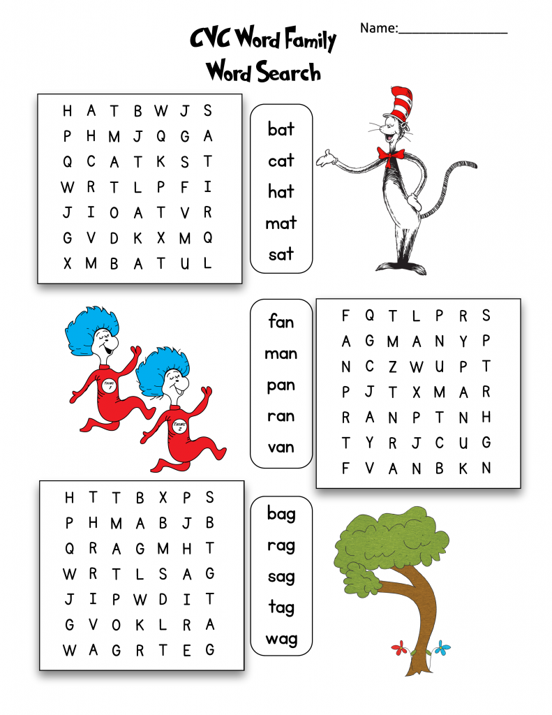 Dr. Seuss Free CVC Word Search Printable w/ answer key. … Continue reading →