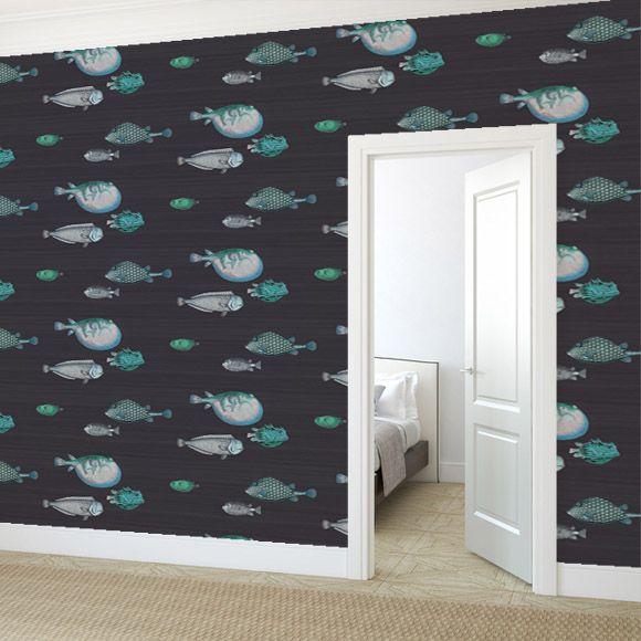 papier peint acquario fils papiers peints et poisson. Black Bedroom Furniture Sets. Home Design Ideas