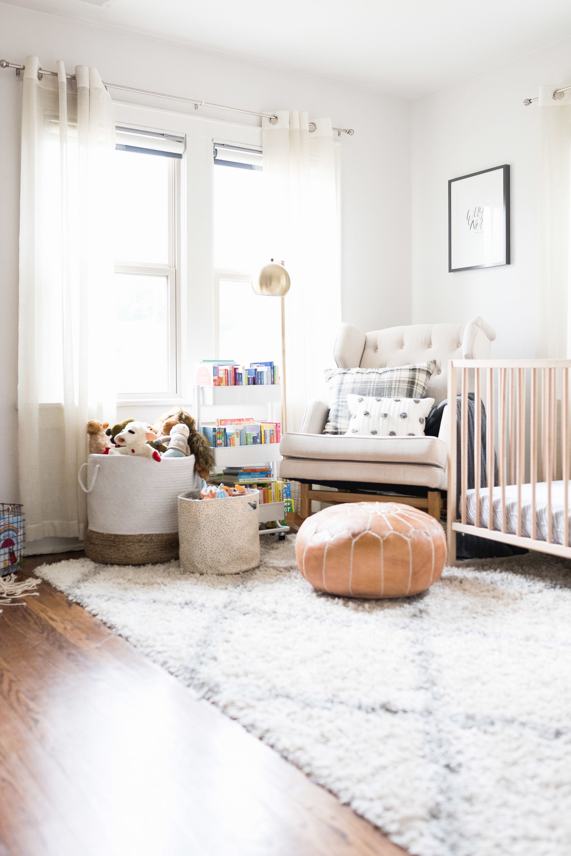 Mid Century Modern Nursery With Leather Moroccan Pouf And Woven