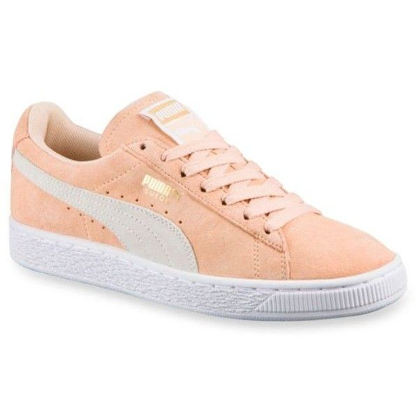 Puma  Women's Classic Suede Sneakers ($65) ❤ liked on Polyvore featuring shoes, sneakers, peach, puma sneakers, suede sneakers, suede leather shoes, peach shoes and puma footwear