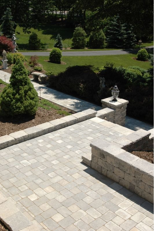 gray paver walkway with steps home and garden design ideas
