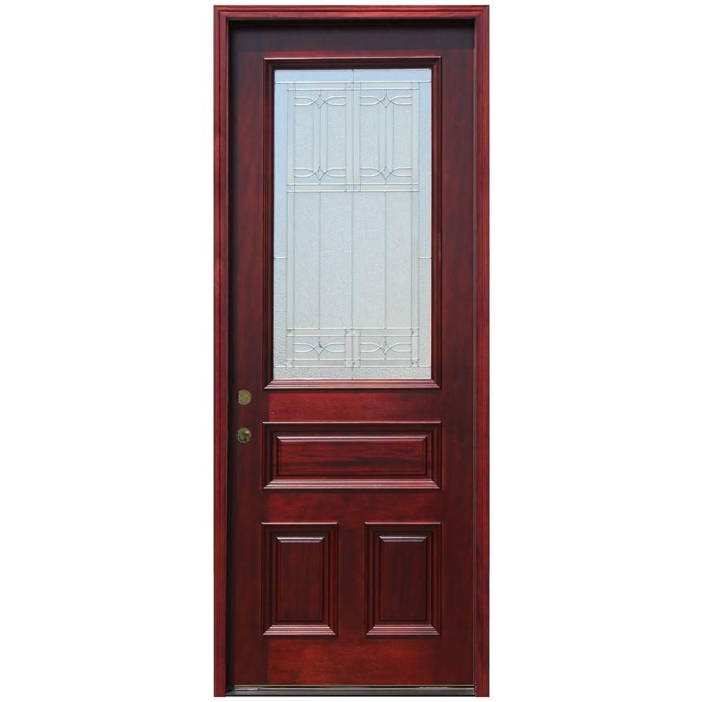 Pacific Entries 36 In X 96 In 3 4 Lite Stained Mahogany Wood Prehung Front Door With 6 In Wall Series And 8 Ft Height Series M62dbr 86 Wood Entry Doors Wood Front Doors Solid Core Interior Doors