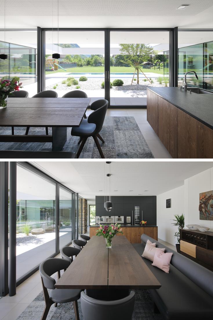 Moderne Wohninspiration für offene Küche mit Wohn- und Esszimmer