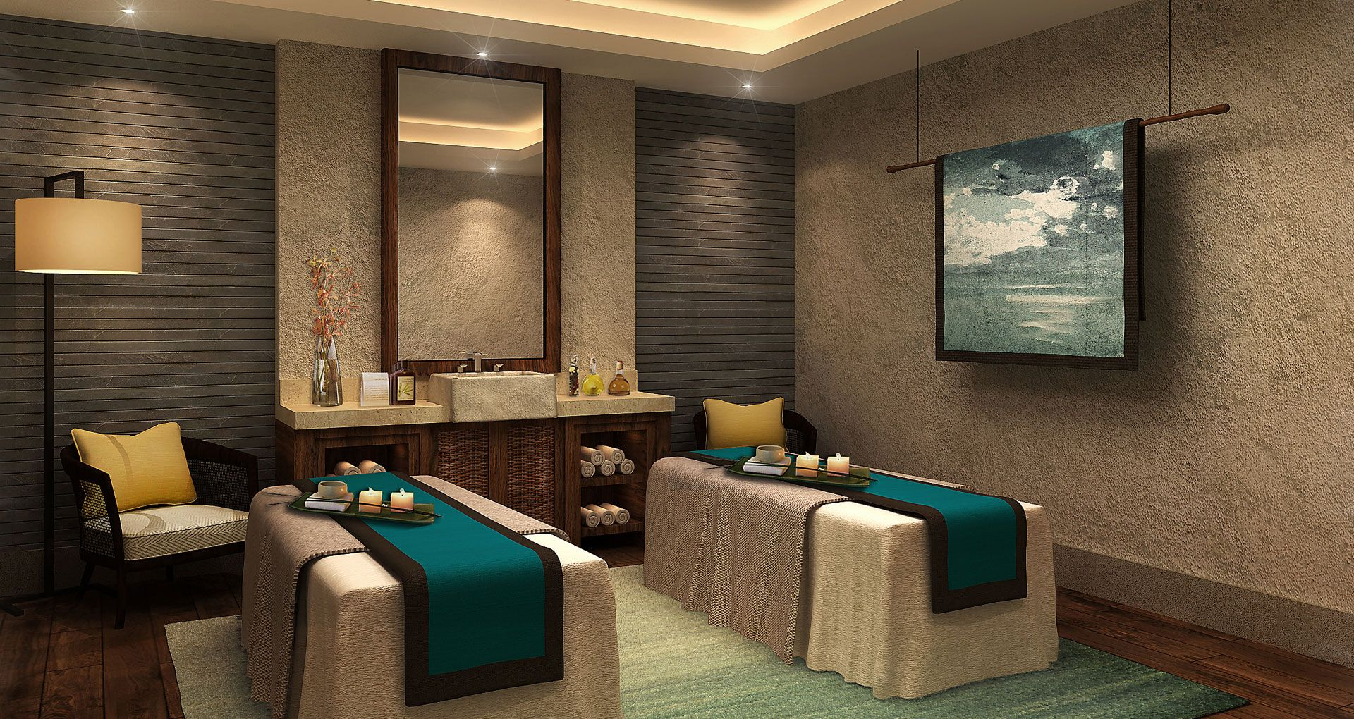 Zhangzhou half moon hill hot spring resort spa interior for Spa treatment room interior design