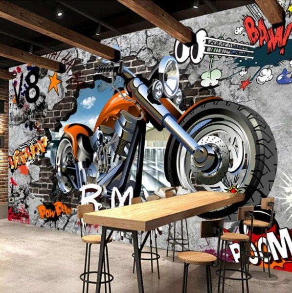 Graffiti Street Art Large Motorcycle Wallpaper For Home Or