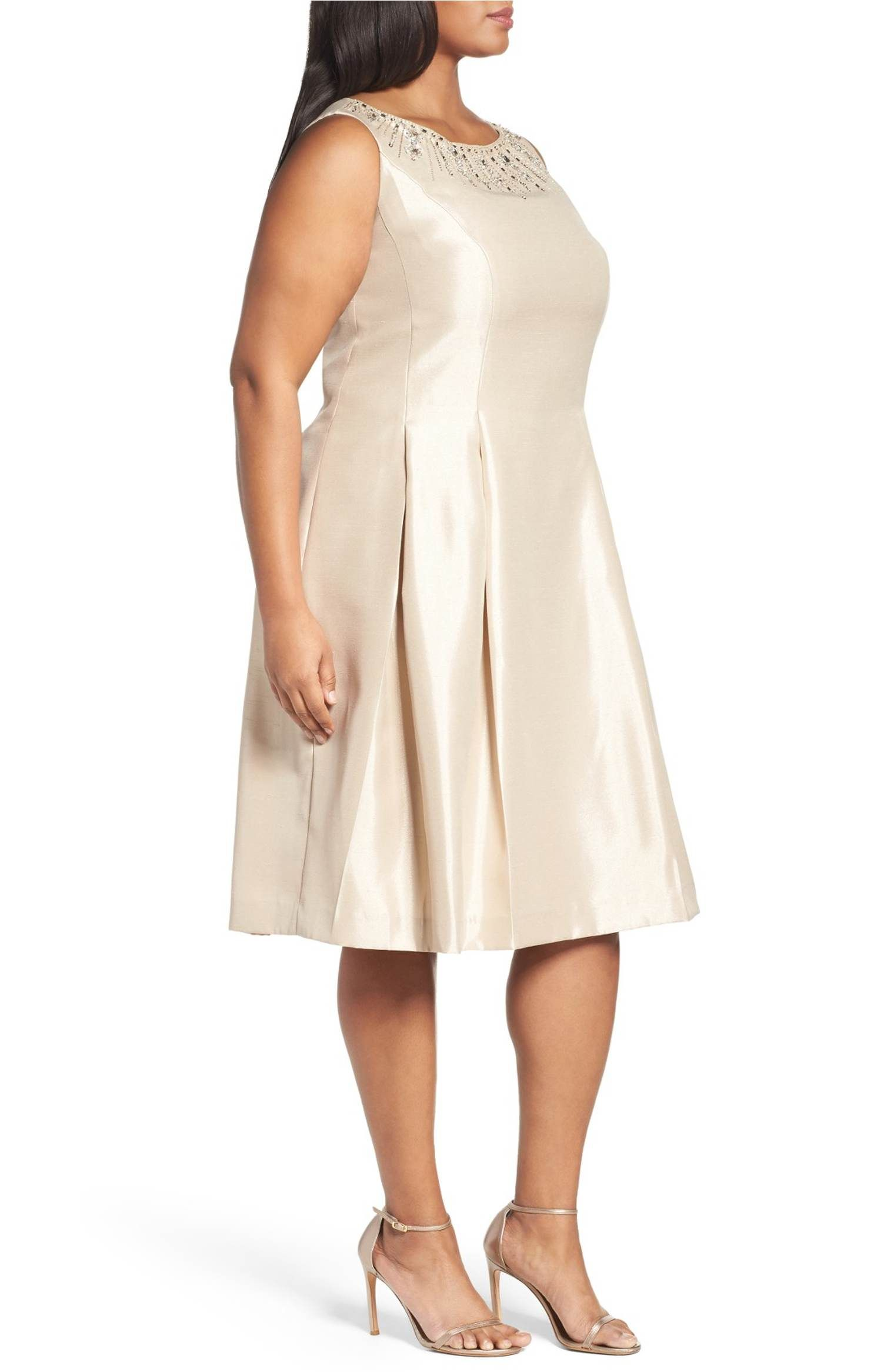 Main Image - Tahari Tea Length Embellished Shantung Cocktail Dress ...