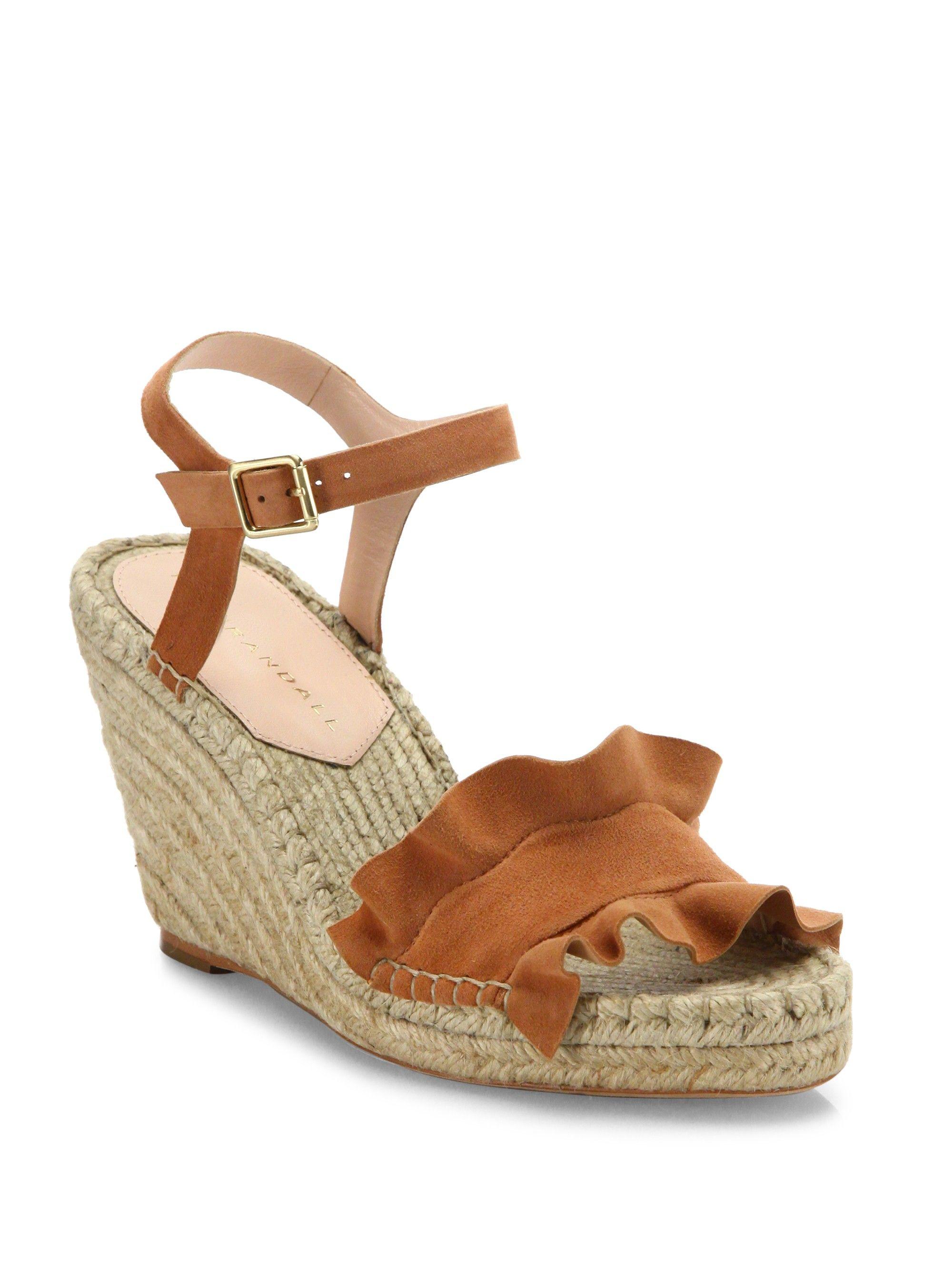 727e9497432 Gabby Ruffle Suede Espadrille Wedge Sandals by Loeffler Randall in ...