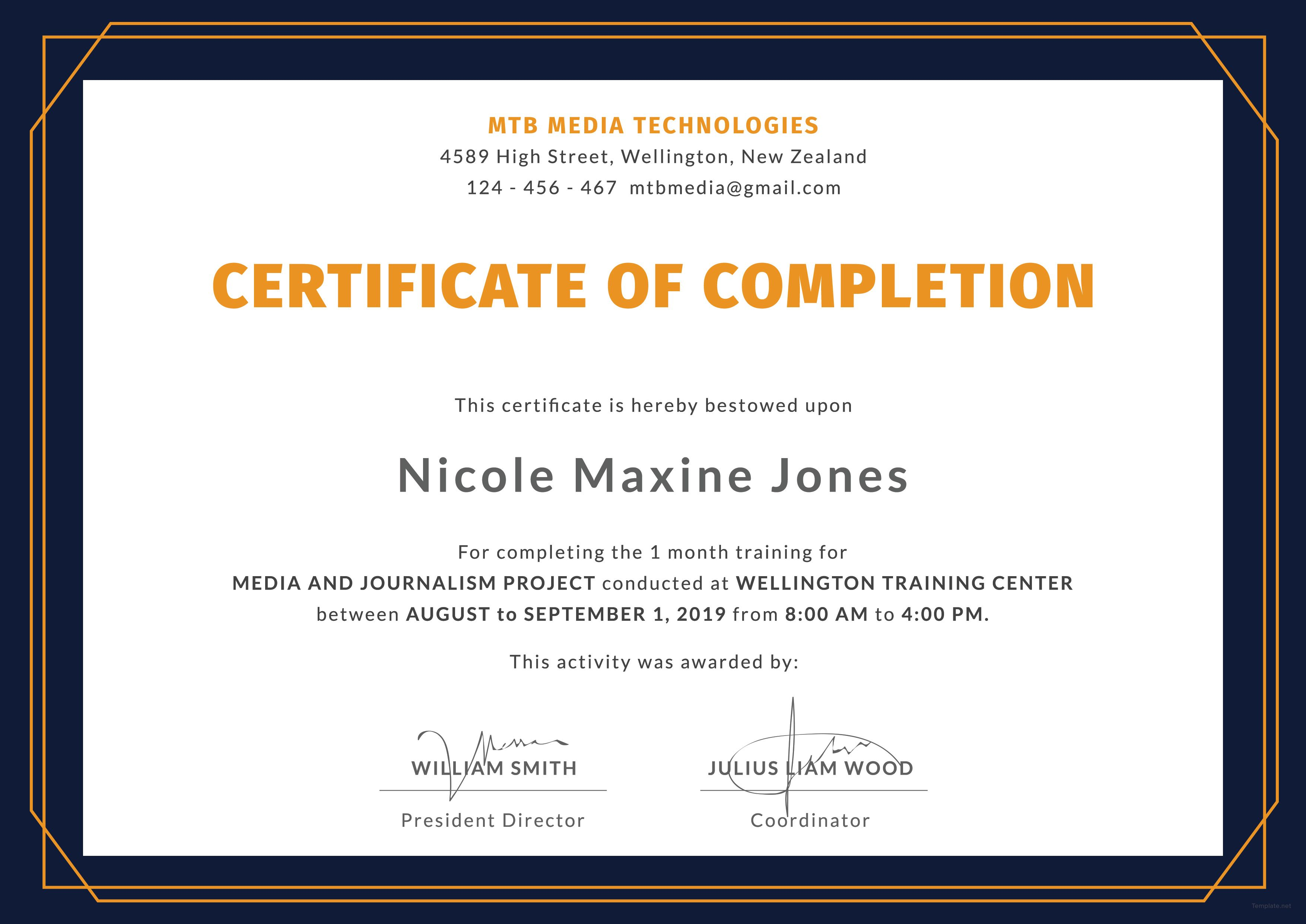 Free Training Completion Certificate Deepan Pinterest Word Doc