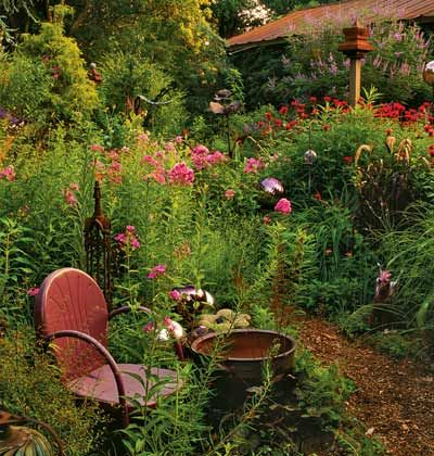 Add Garden Antiques  Start shopping flea markets and estate sales for vintage ornament and antique pottery and garden furniture -- youll be surprised at what you find.