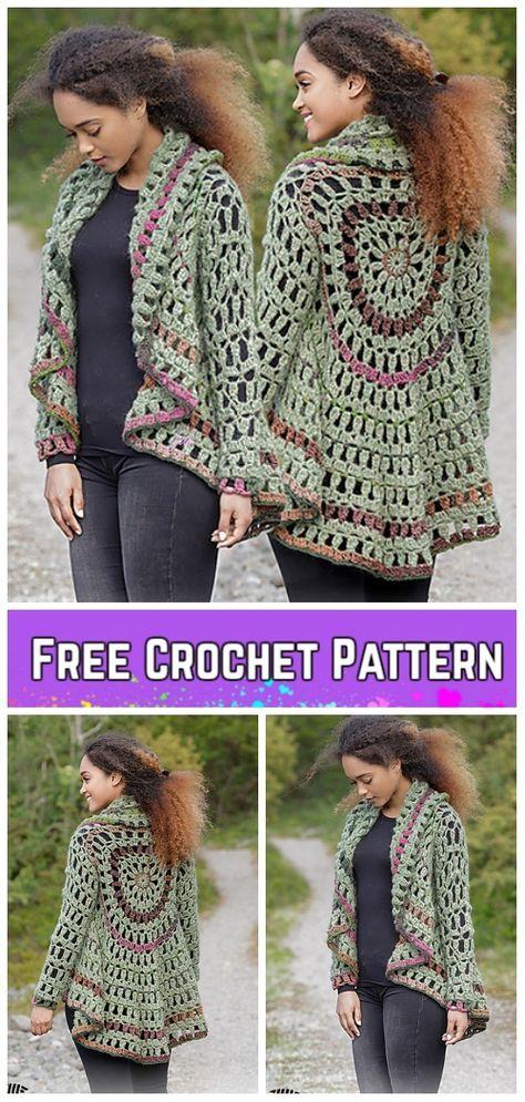 Crochet Woman Circle Jacket Free Patterns Crochet Pinterest