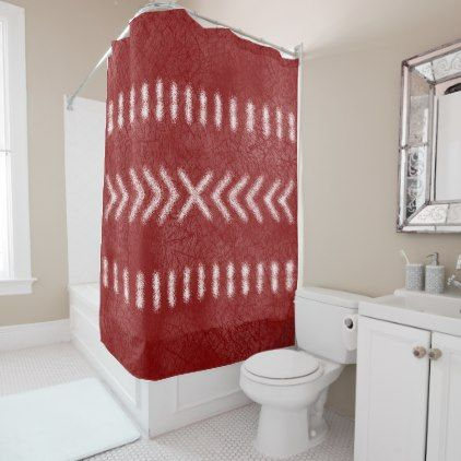 Minimalist Tribal Pattern On Dark Red Shower Curtain