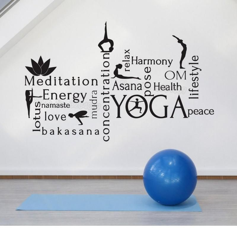 word cloud wall sticker for yoga room decor canvas art on wall stickers painting id=75808